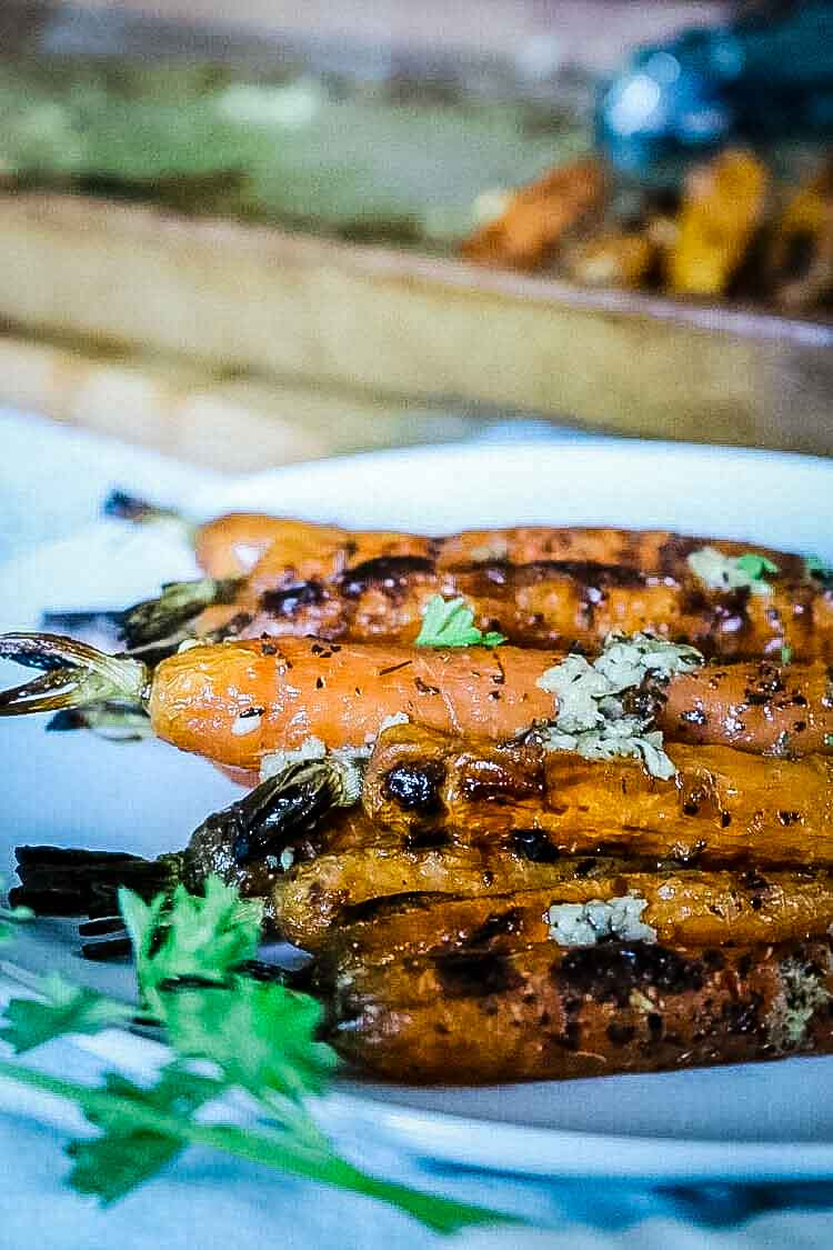 Oven roasted carrots with garlic and herbs.