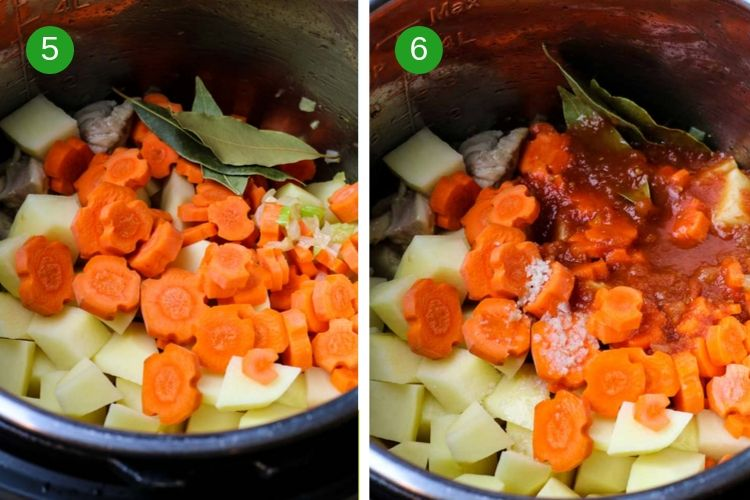 Add potatoes to the inner pot of the Instant Pot and carrots and tomato sauce.