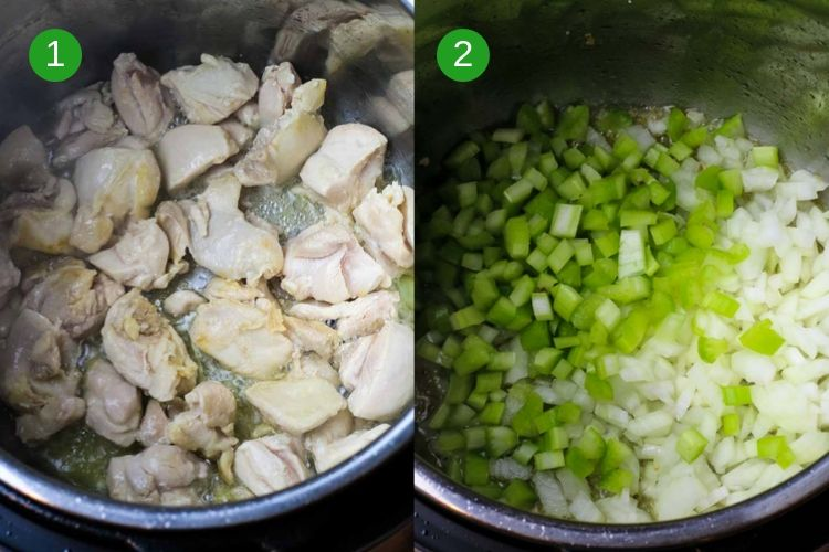 Searing chicken in the Instant Pot followed by sauteeing celery and onions.