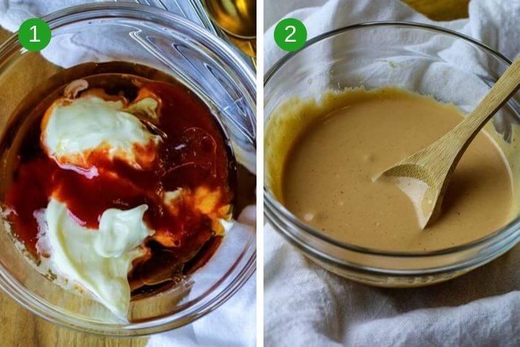 Creamy poke sauce with mayo, sriracha, sesame oil and fish sauce.