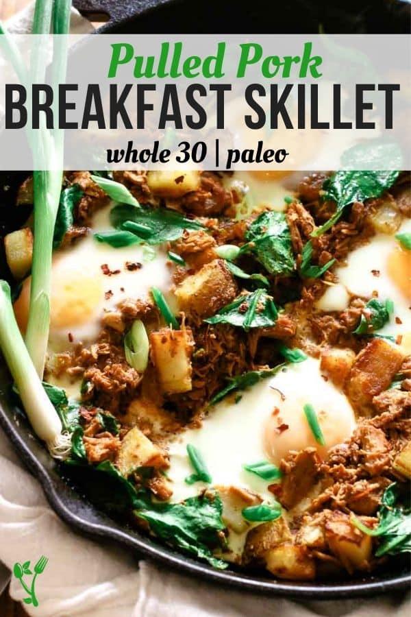 Pulled Pork Breakfast Skillet in a Cast Iron skillet