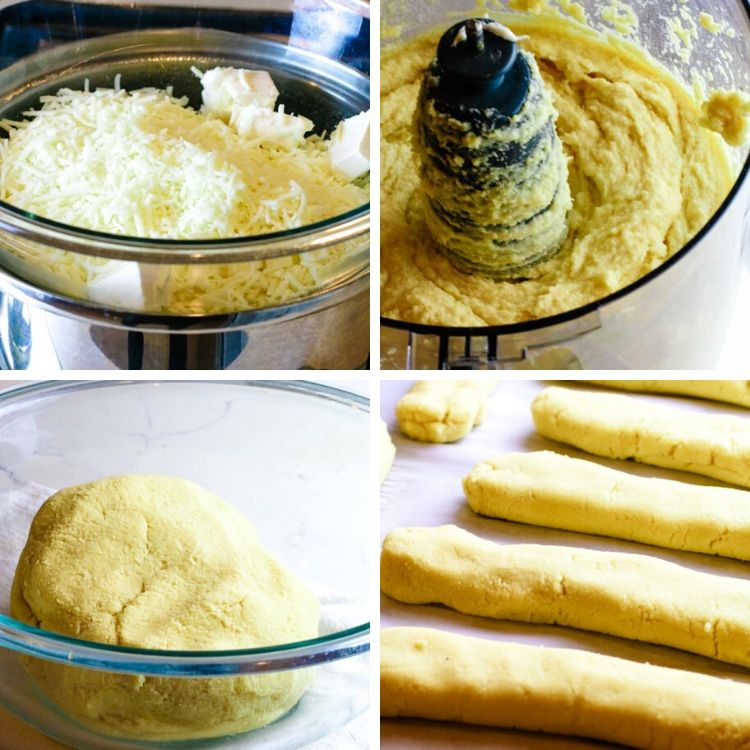 A collage on how to make low carb and keto bread sticks, starting with melting cheeses, then mixing in food processor, followed by kneading the dough into a ball in a bowl and ending in 8 uniform logs of low carb bread sticks.