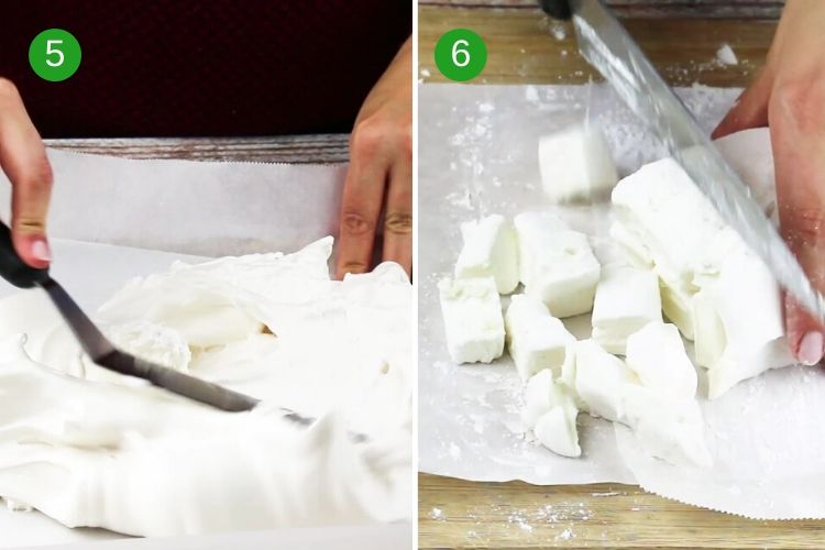 How to make homemade marshmallows - steps 3 and 4 - to spread the marshmallow fluff and allow it to set.