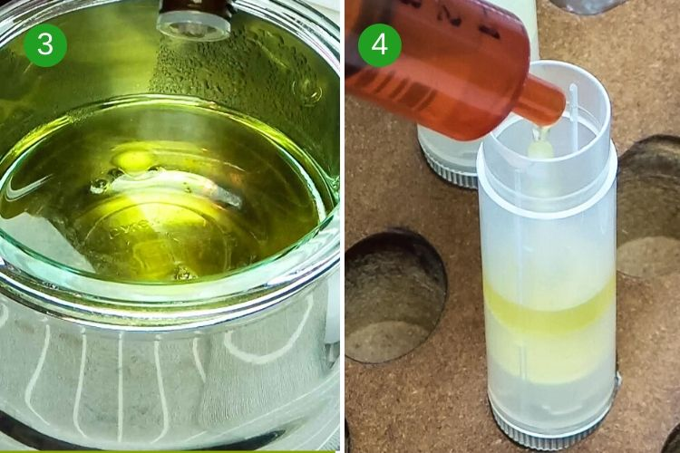 How to Make lip balm at home with a medicine syringe filling the lip balm tubes.