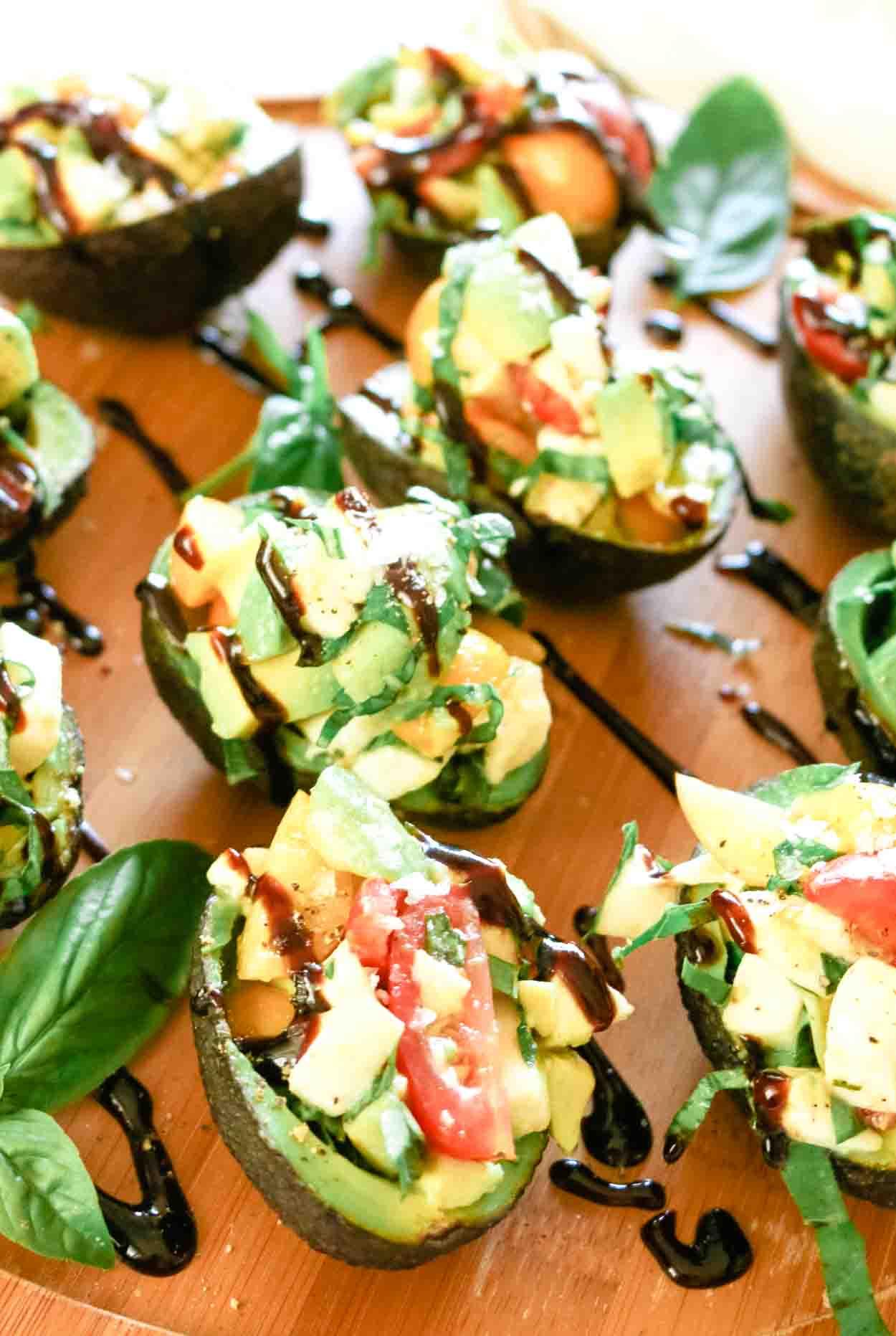 Caprese salad in avocado boat