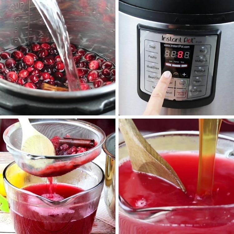 Instructions how to make cranberry juice in the instant pot in under 8 minutes.