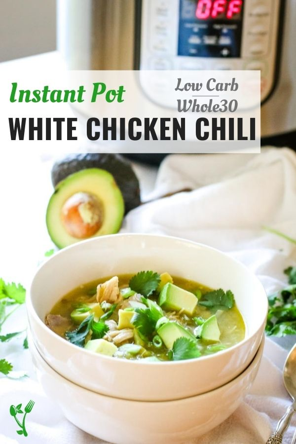 Healthy white chicken chili recipe with healthy toppings