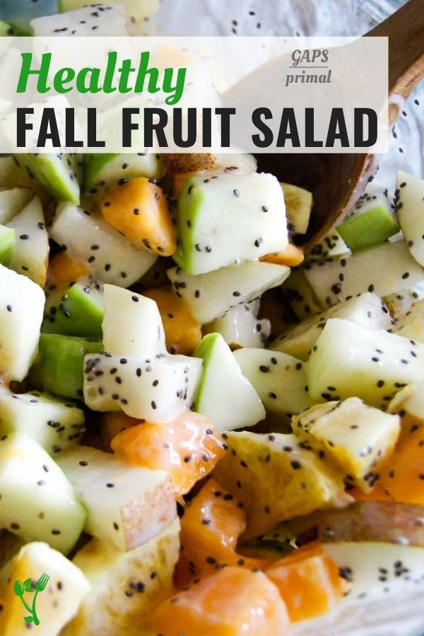 Healthy fall fruit salad text overlay a picture of diced fruit