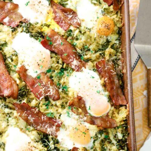 Sheet pan hash browns, bacon and eggs