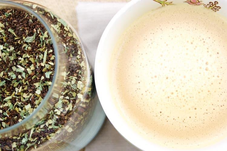 Herbal coffee blend and a mug of coffee substitute in a mug