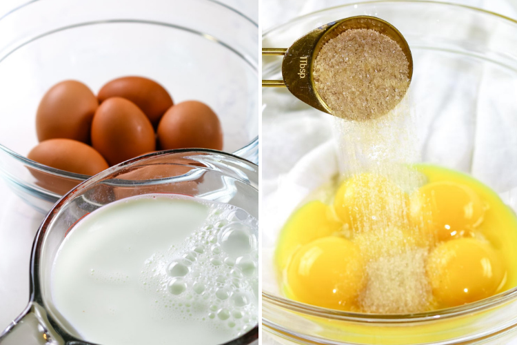 eggs, milk and sugar as ingeredients in eggnog