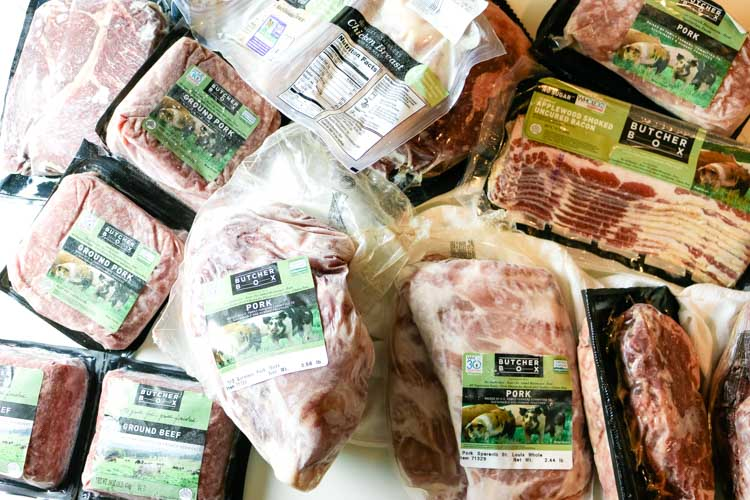various cuts of Butcher Box meat on counter