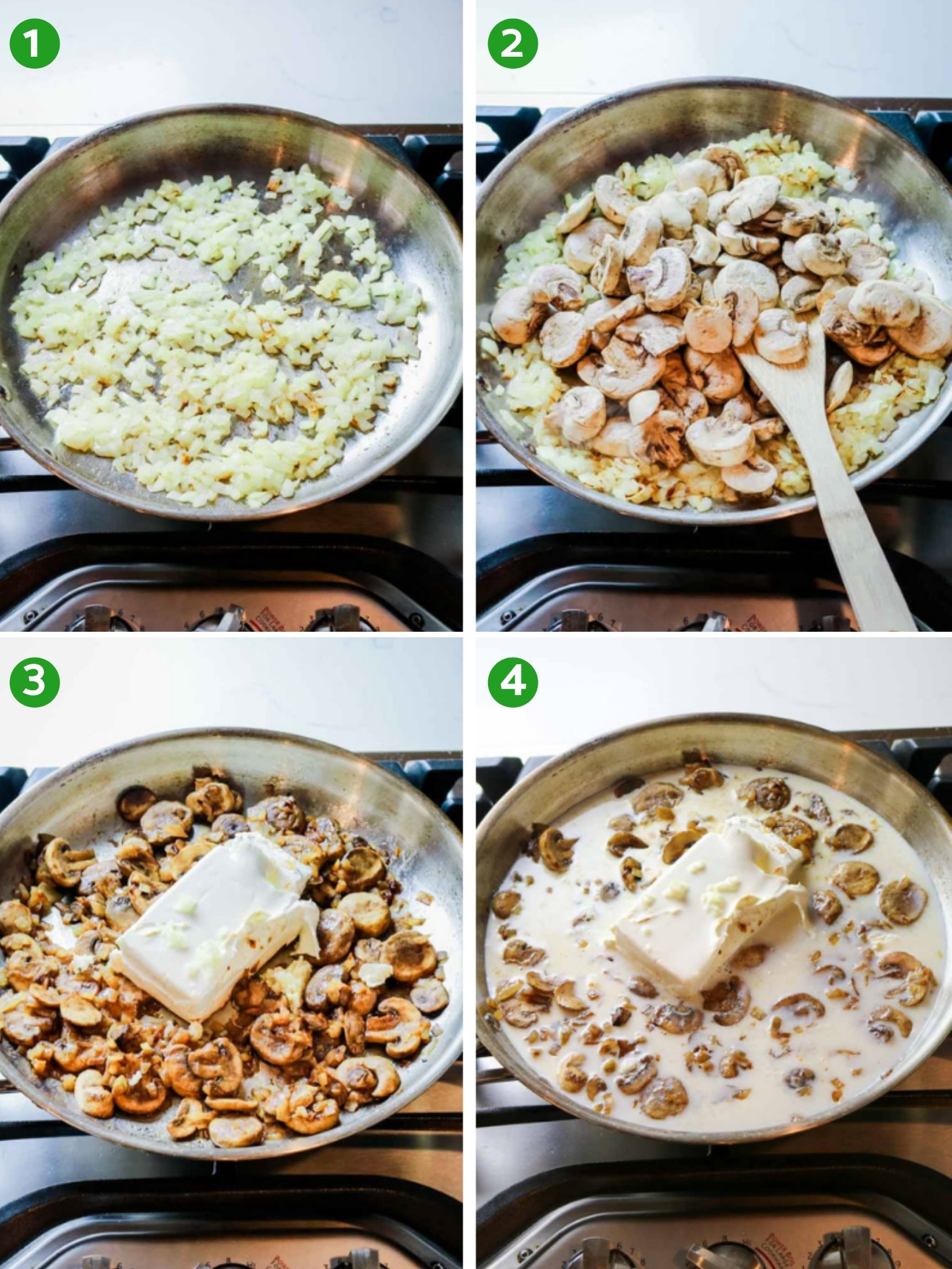 Steps 1 through 4 on how to make the best tuna casserole