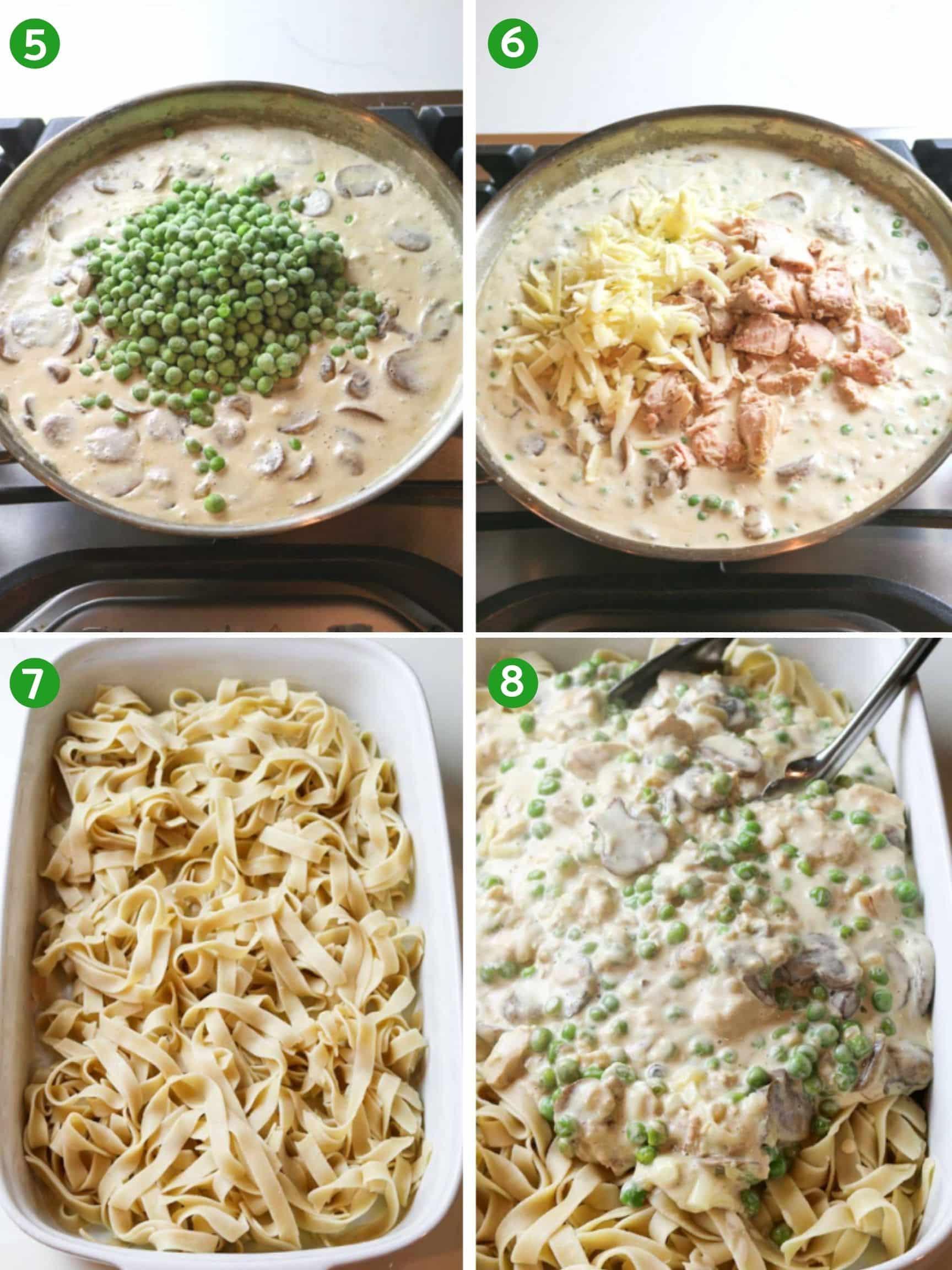 Steps 5 through 8 of healthy tuna casserole