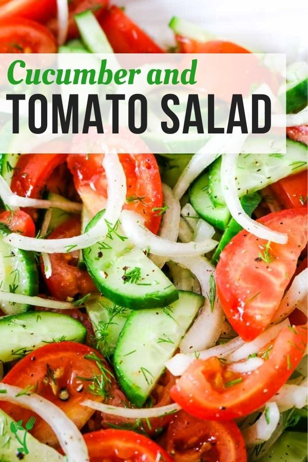 Cucumber and Tomato Salad with text overlay