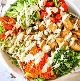 Healthy Buffalo Chicken Salad with Blue Cheese Dressing