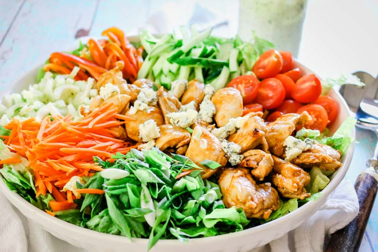 Healthy Buffalo chicken salad with lots of vegetables