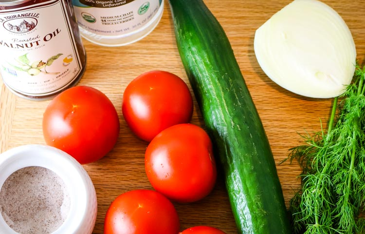 Cucumbers and tomatoes for a salad