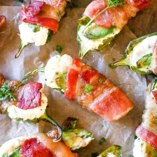 Bacon wrapped jalapeno poppers with cream cheese