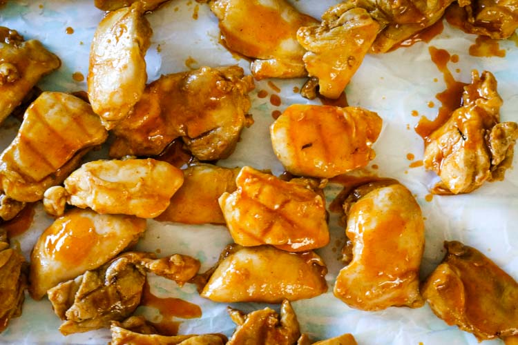 Making buffalo chicken bites for healthy salad