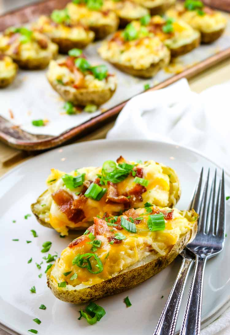 Easy Twice Baked Potatoes with green onions, cheddar and bacon