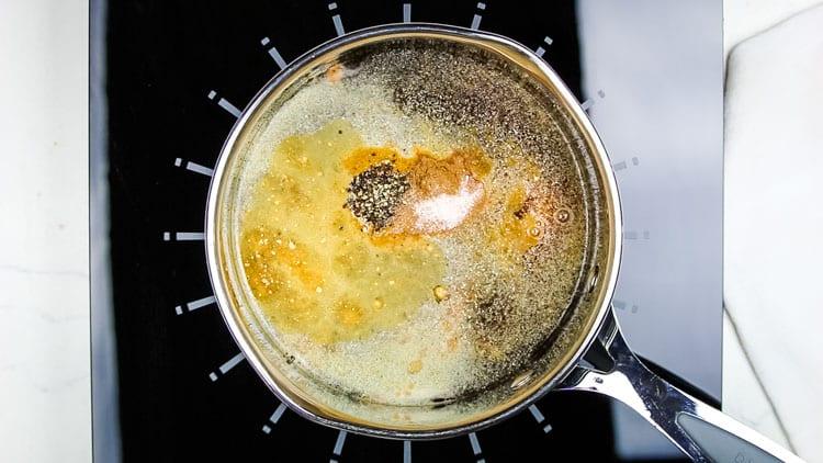 Worcestershire Ingredients in a saucepan