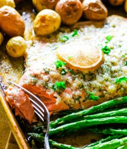 Oven baked salmon on a sheet pan